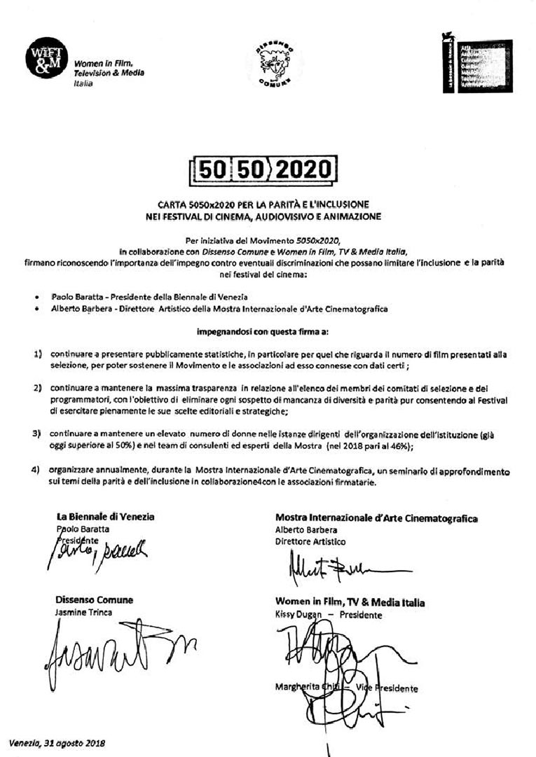 Documento sulla parità di genere nel Cinema Italiano
